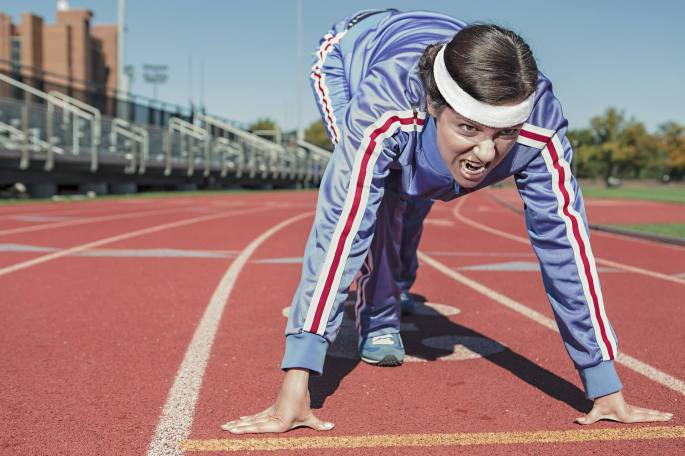 Homem início de competição