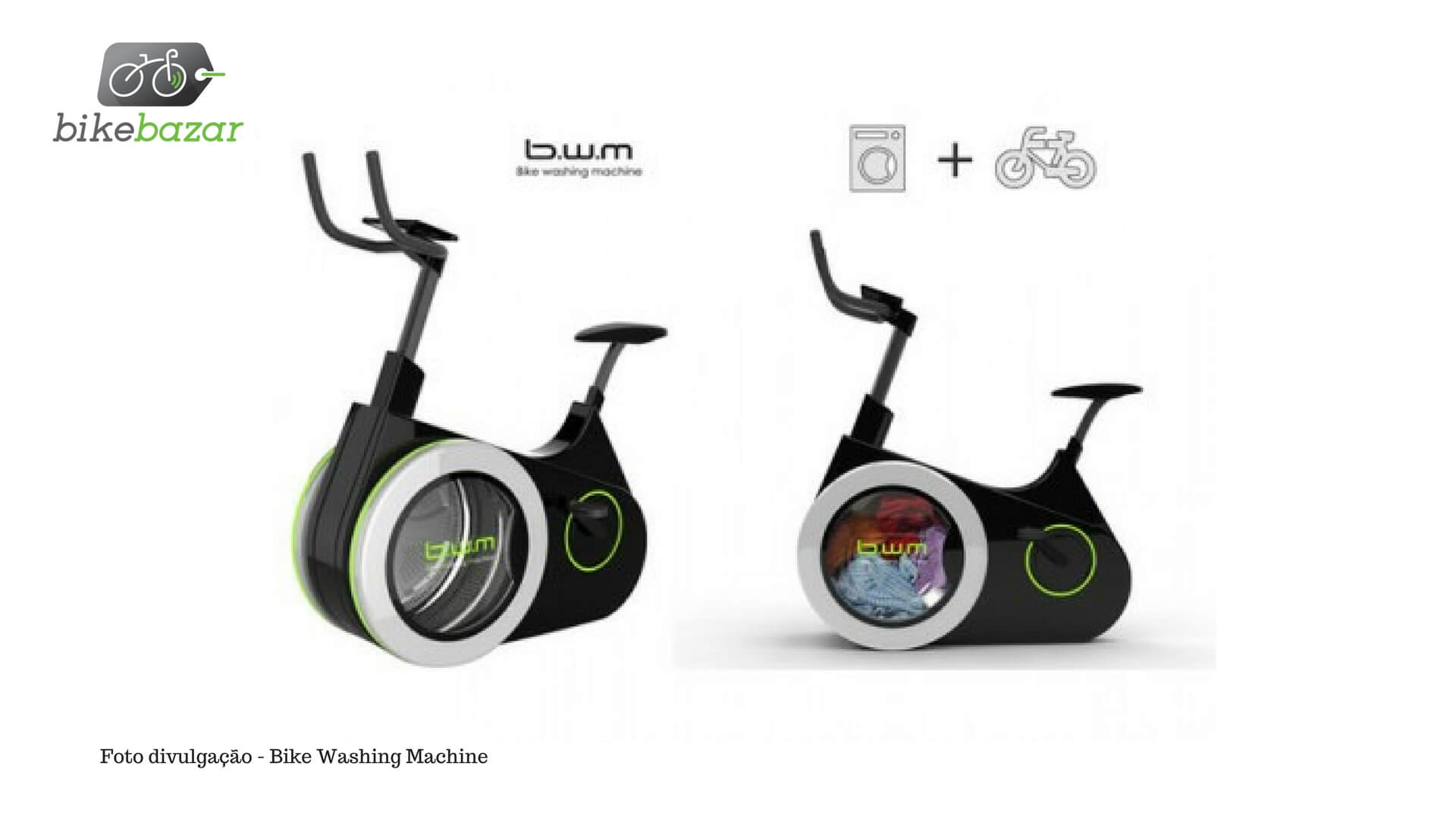 Bicicleta que lava roupa